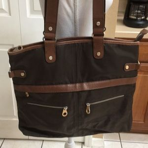 Baggallini brown nylon tote bag EUC